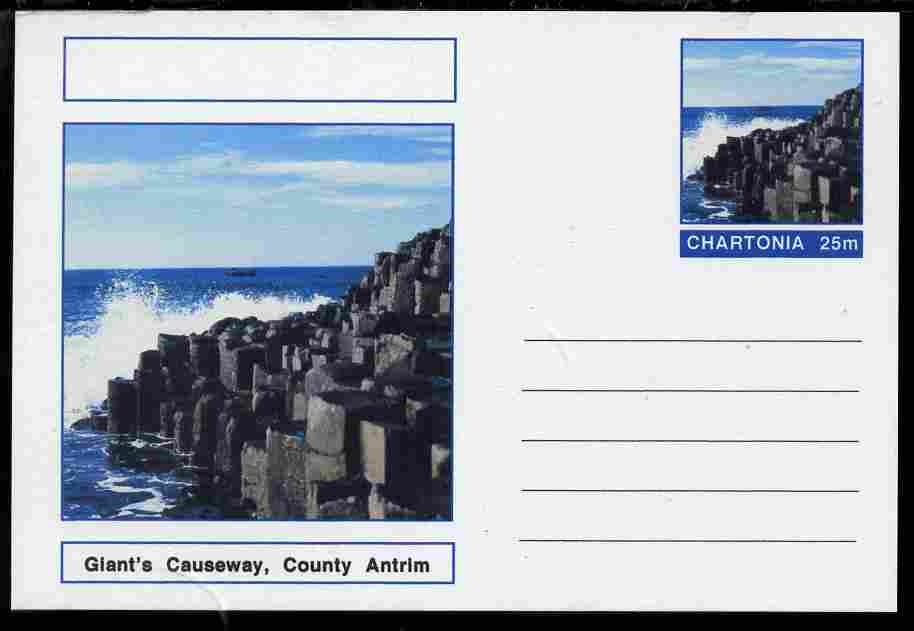 Chartonia (Fantasy) Landmarks - Giant's Causeway, County Antrim postal stationery card unused and fine