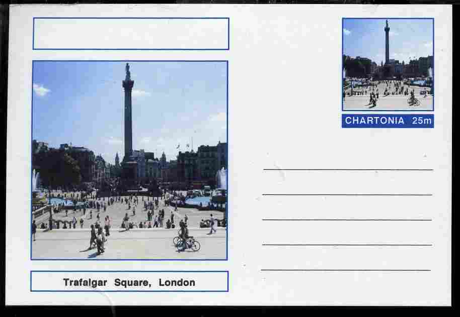 Chartonia (Fantasy) Landmarks - Trafalgar Square, London postal stationery card unused and fine