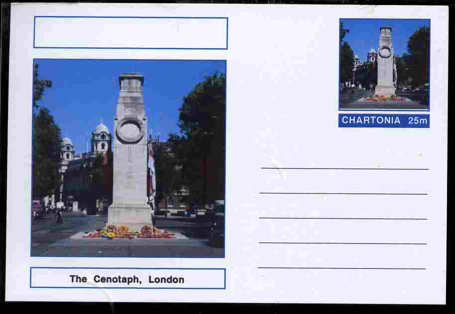 Chartonia (Fantasy) Landmarks - The Cenotaph, London postal stationery card unused and fine, stamps on tourism, stamps on london, stamps on monuments, stamps on  ww1 , stamps on  ww2 , stamps on militaria
