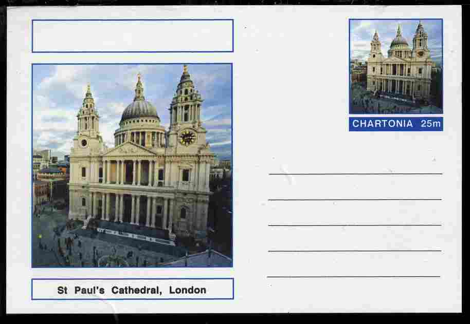 Chartonia (Fantasy) Landmarks - St Paul's Cathedral, London postal stationery card unused and fine