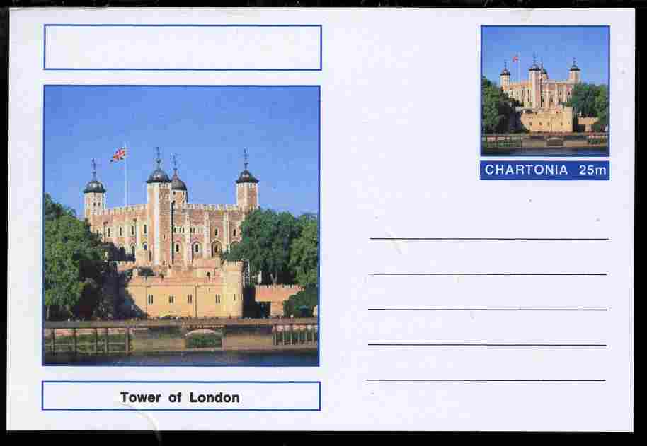 Chartonia (Fantasy) Landmarks - The Tower of London postal stationery card unused and fine, stamps on tourism, stamps on london, stamps on towers