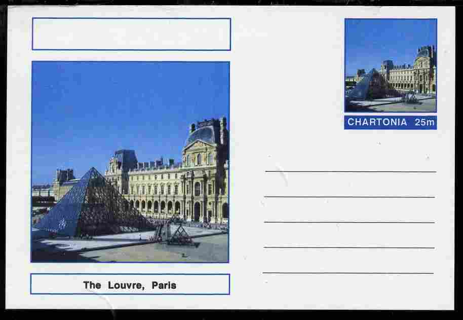 Chartonia (Fantasy) Landmarks - The Louvre, Paris postal stationery card unused and fine