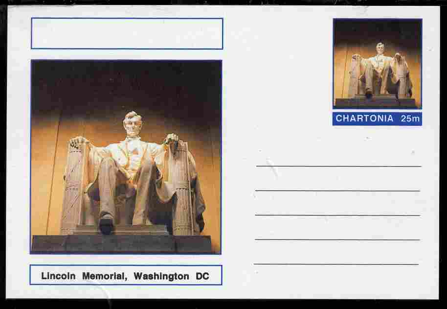 Chartonia (Fantasy) Landmarks - Lincoln Memorial, Washington DC postal stationery card unused and fine