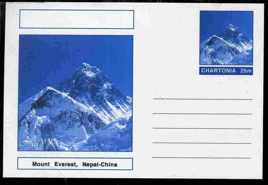 Chartonia (Fantasy) Landmarks - Mount Everest, Nepal-China postal stationery card unused and fine
