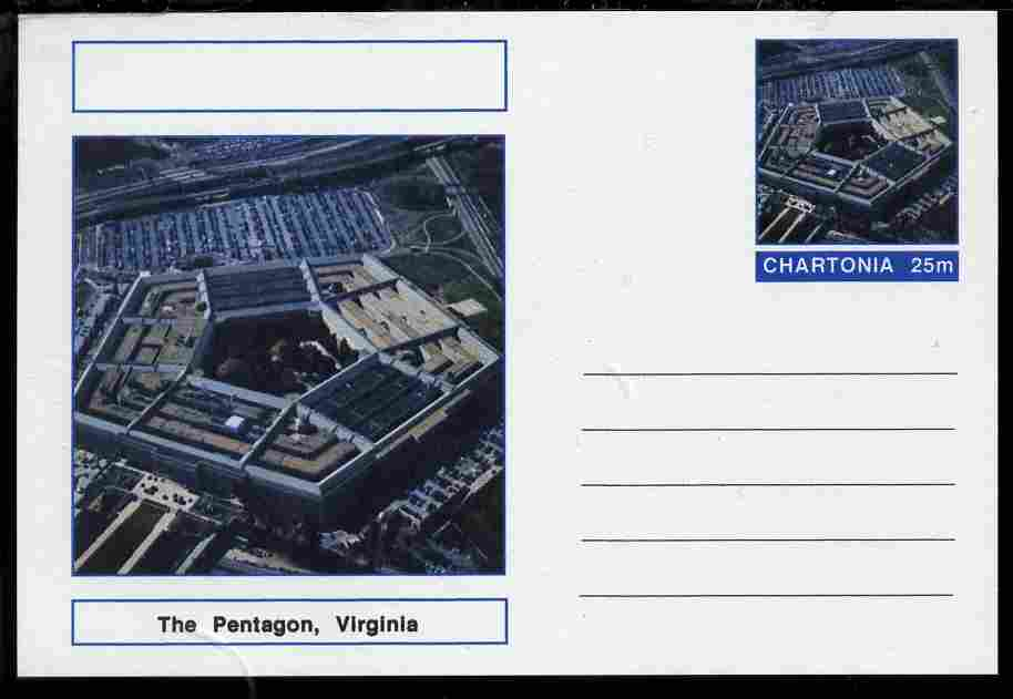 Chartonia (Fantasy) Landmarks - The Pentagon, Virginia postal stationery card unused and fine