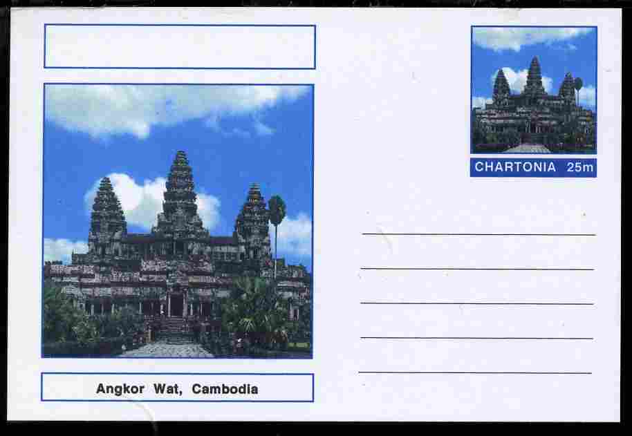 Chartonia (Fantasy) Landmarks - Angkor Wat, Cambodia postal stationery card unused and fine