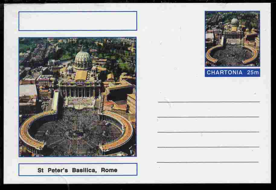 Chartonia (Fantasy) Landmarks - St Peter's Basilica, Rome postal stationery card unused and fine
