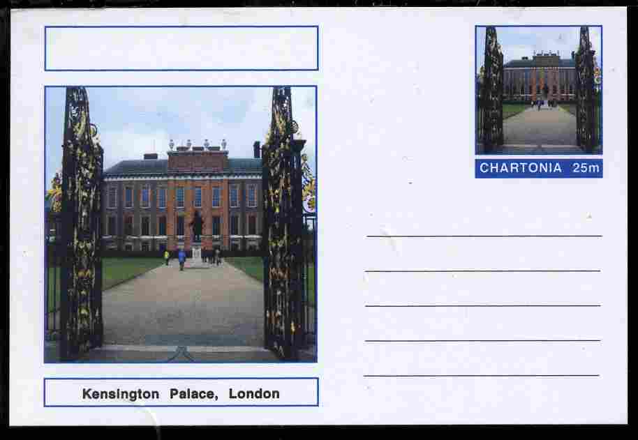 Chartonia (Fantasy) Landmarks - Kensington Palace, London postal stationery card unused and fine