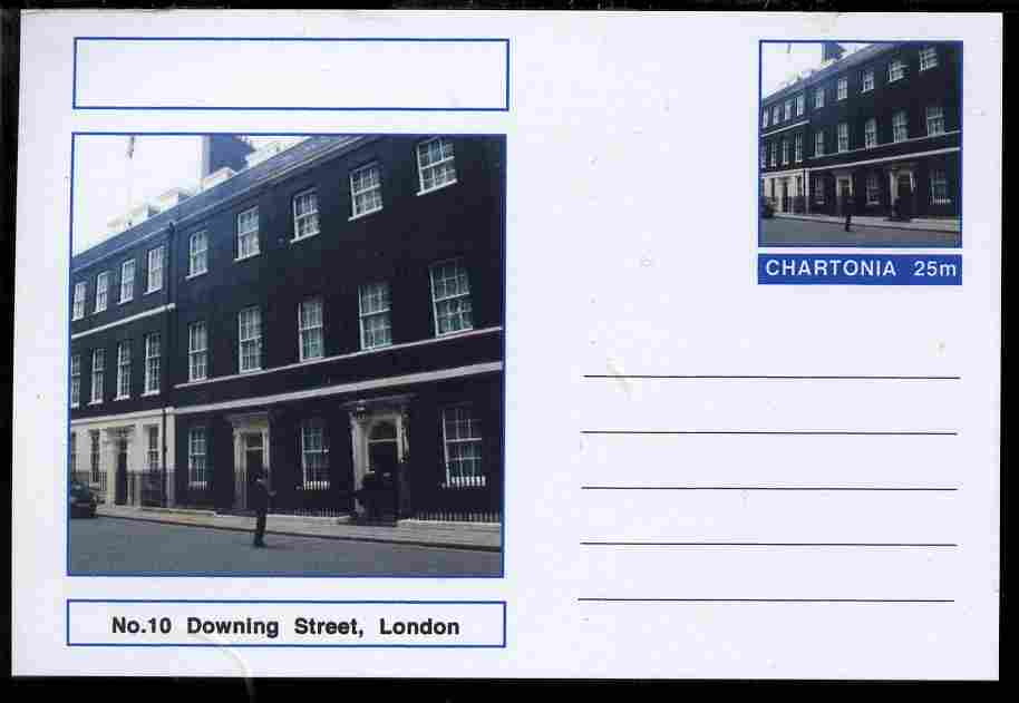 Chartonia (Fantasy) Landmarks - No.10 Downing Street, London postal stationery card unused and fine