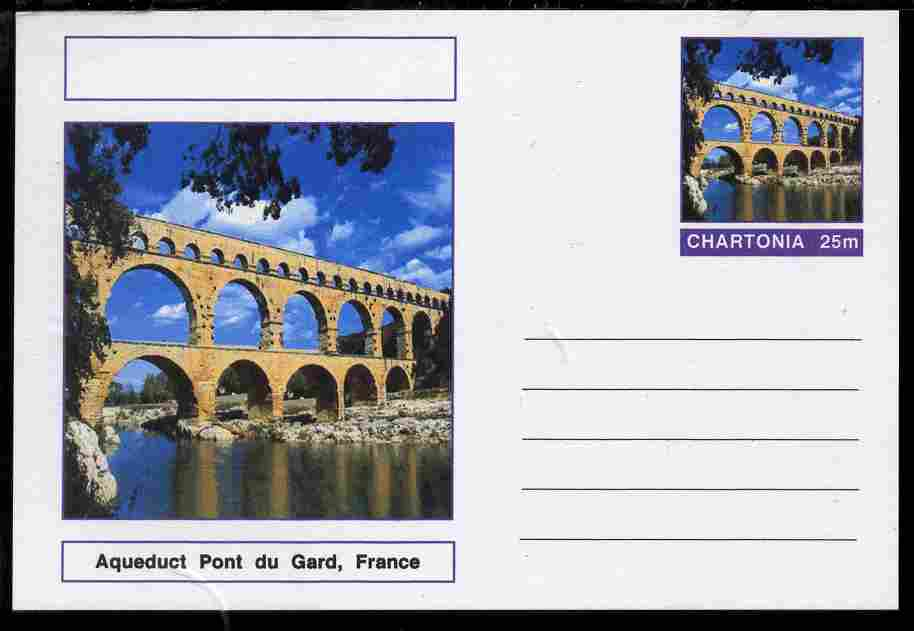 Chartonia (Fantasy) Bridges - Aqueduct Pont du Gard, France postal stationery card unused and fine