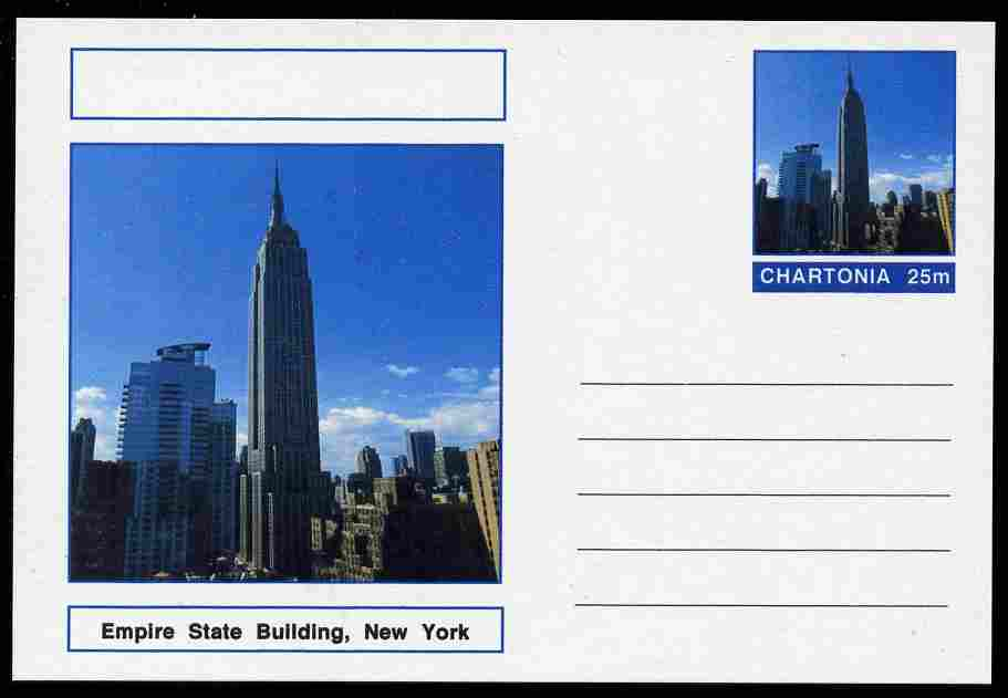 Chartonia (Fantasy) Landmarks - Empire State Building, New York postal stationery card unused and fine