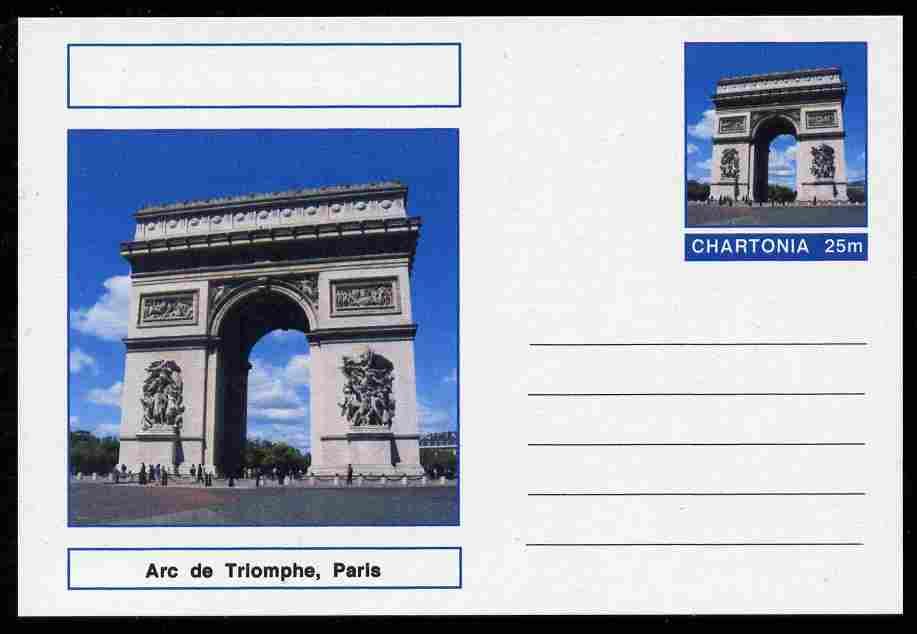 Chartonia (Fantasy) Landmarks - Arc de Triomphe, Paris postal stationery card unused and fine