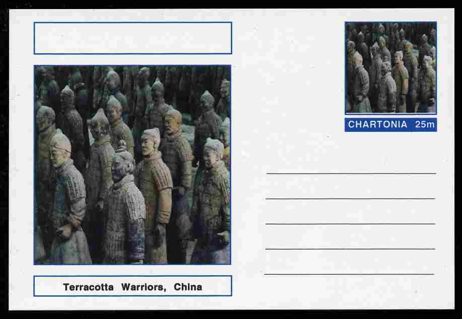 Chartonia (Fantasy) Landmarks - Terracotta Warriors, China postal stationery card unused and fine