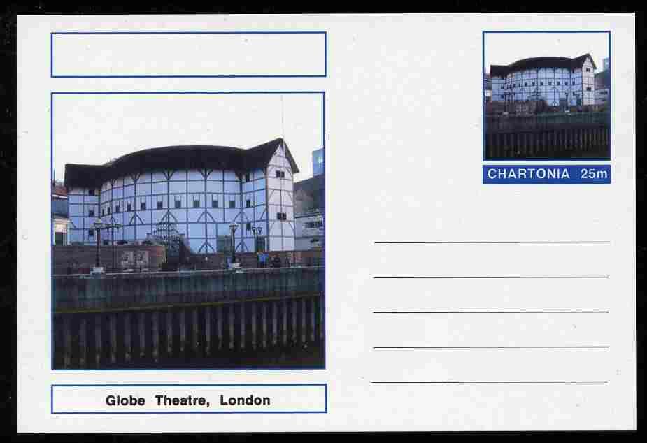 Chartonia (Fantasy) Landmarks - Globe Theatre, London postal stationery card unused and fine