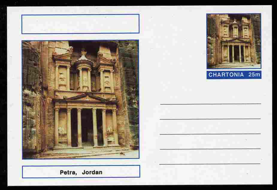 Chartonia (Fantasy) Landmarks - Petra, Jordan postal stationery card unused and fine