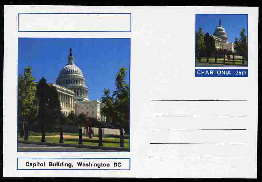 Chartonia (Fantasy) Landmarks - Capitol Building, Washington DC postal stationery card unused and fine