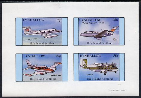 Eynhallow 1981 Aircraft #1 (Lear Jet, Hawker Siddley, Cessna 320 & Skyvan) imperf  set of 4 values (10p to 75p) unmounted mint