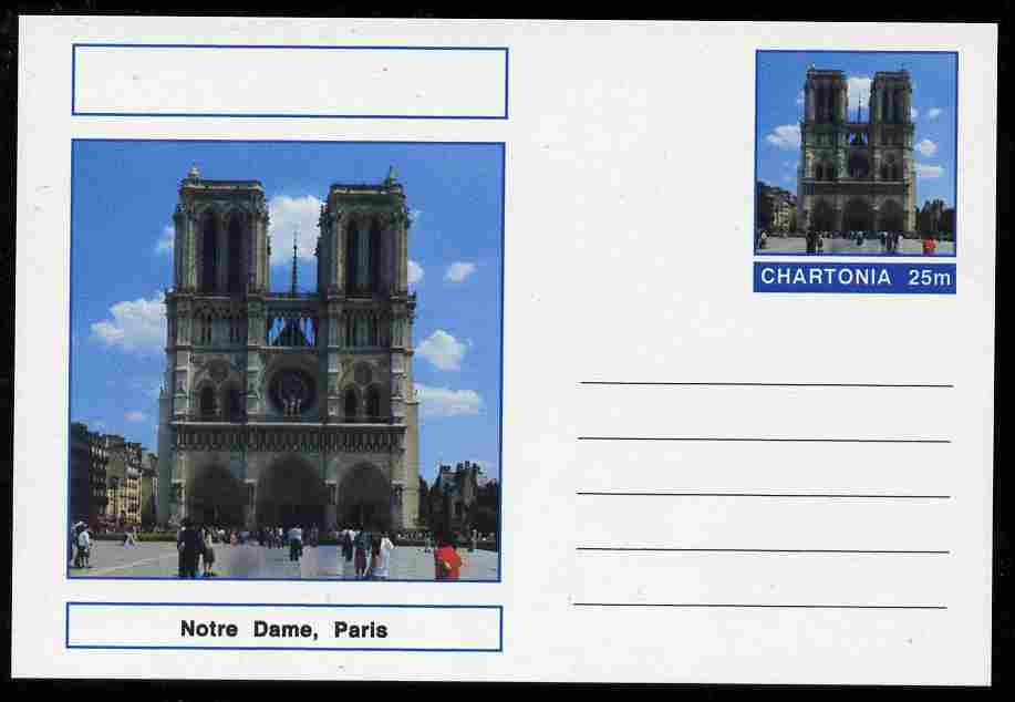 Chartonia (Fantasy) Landmarks - Notre Dame, Paris postal stationery card unused and fine