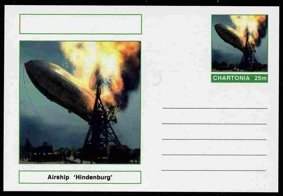 Chartonia (Fantasy) Airships & Balloons - Hindenburg LZ-129 postal stationery card unused and fine