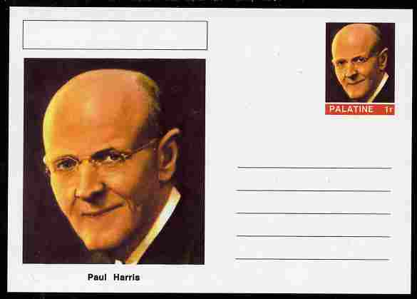 Palatine (Fantasy) Personalities - Paul Harris (Rotary Int) postal stationery card unused and fine