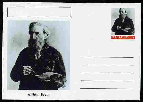 Palatine (Fantasy) Personalities - William Booth (Salvation Army) postal stationery card unused and fine, stamps on personalities, stamps on salvation army, stamps on