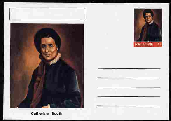 Palatine (Fantasy) Personalities - Catherine Booth (Salvation Army) postal stationery card unused and fine