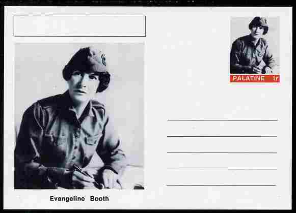 Palatine (Fantasy) Personalities - Evangeline Booth (Salvation Army) postal stationery card unused and fine