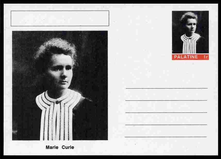 Palatine (Fantasy) Personalities - Marie Curie postal stationery card unused and fine