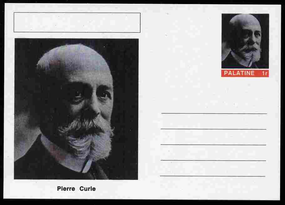 Palatine (Fantasy) Personalities - Pierre Curie postal stationery card unused and fine