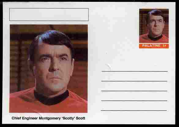Palatine (Fantasy) Star Trek - Chief Engineer Montgomery 'Scotty' Scott postal stationery card unused and fine
