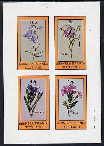 Bernera 1981 Flowers #01 (Harebell, Fritillary, Cornflower & Red Campion) imperf  set of 4 values (10p to 75p) unmounted mint