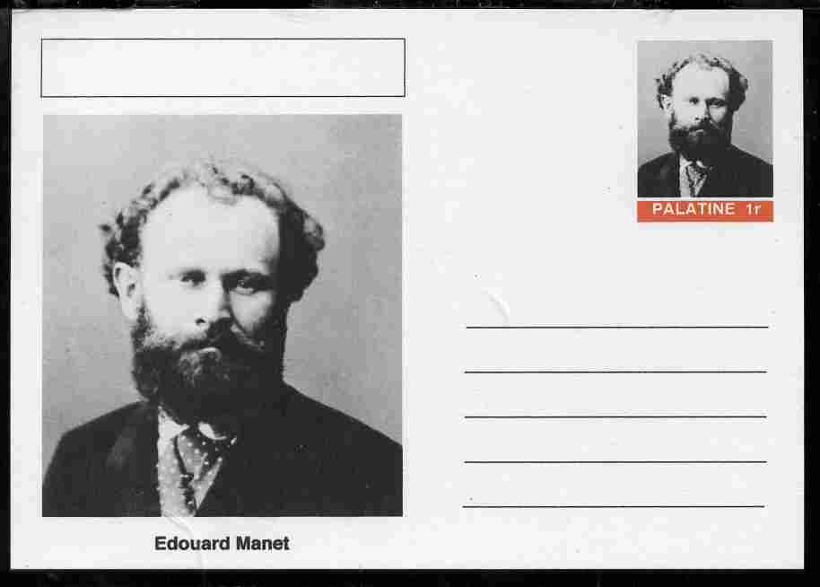 Palatine (Fantasy) Personalities - Edouard Manet postal stationery card unused and fine