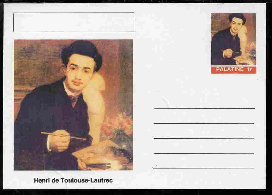 Palatine (Fantasy) Personalities - Henri de Toulouse-Lautrec postal stationery card unused and fine