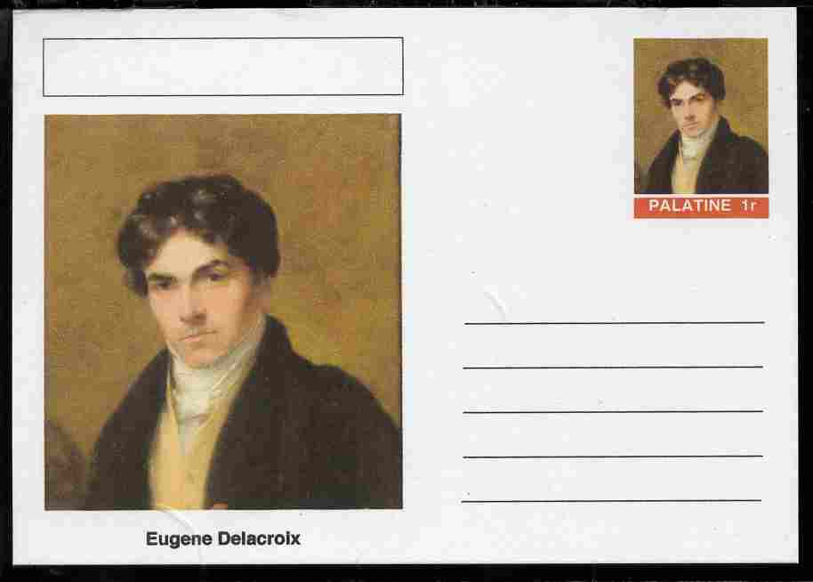 Palatine (Fantasy) Personalities - Eugene Delacroix postal stationery card unused and fine