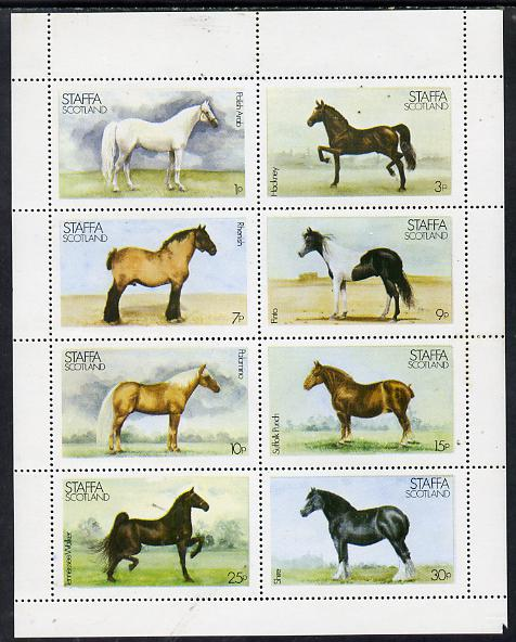 Staffa 1977 Horses perf set of 8 values unmounted mint