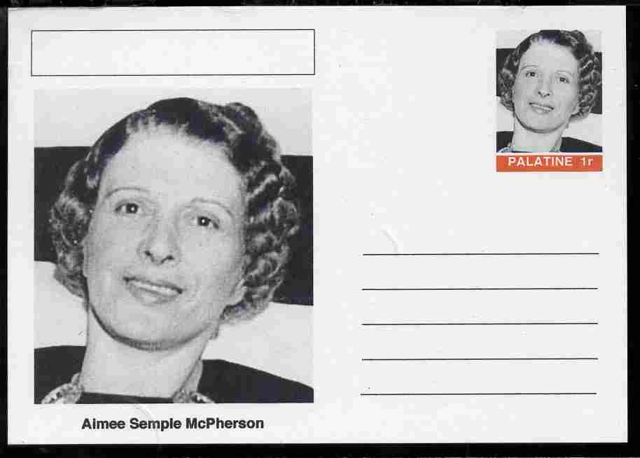 Palatine (Fantasy) Personalities - Aimee Semple McPherson (Salvation Army) postal stationery card unused and fine