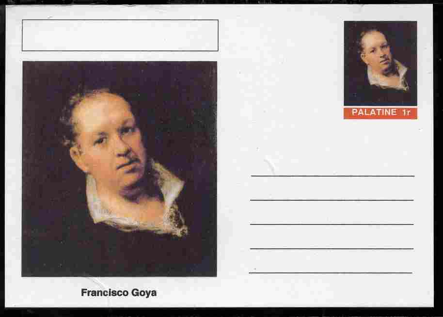 Palatine (Fantasy) Personalities - Francisco Goya postal stationery card unused and fine