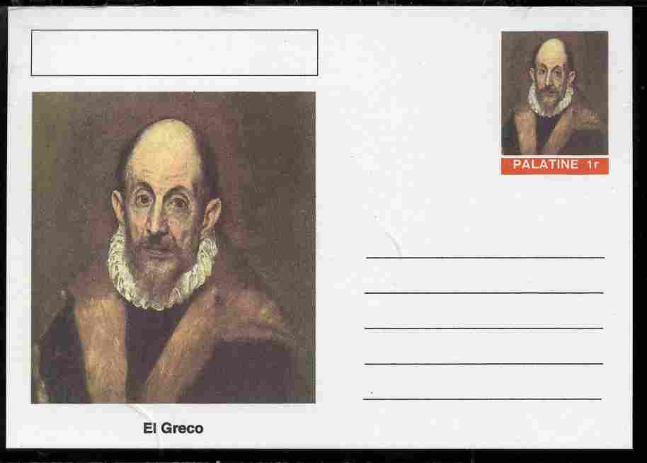 Palatine (Fantasy) Personalities - El Greco postal stationery card unused and fine