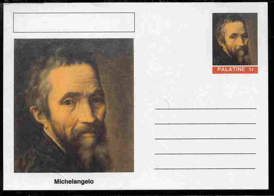Palatine (Fantasy) Personalities - Michelangelo postal stationery card unused and fine
