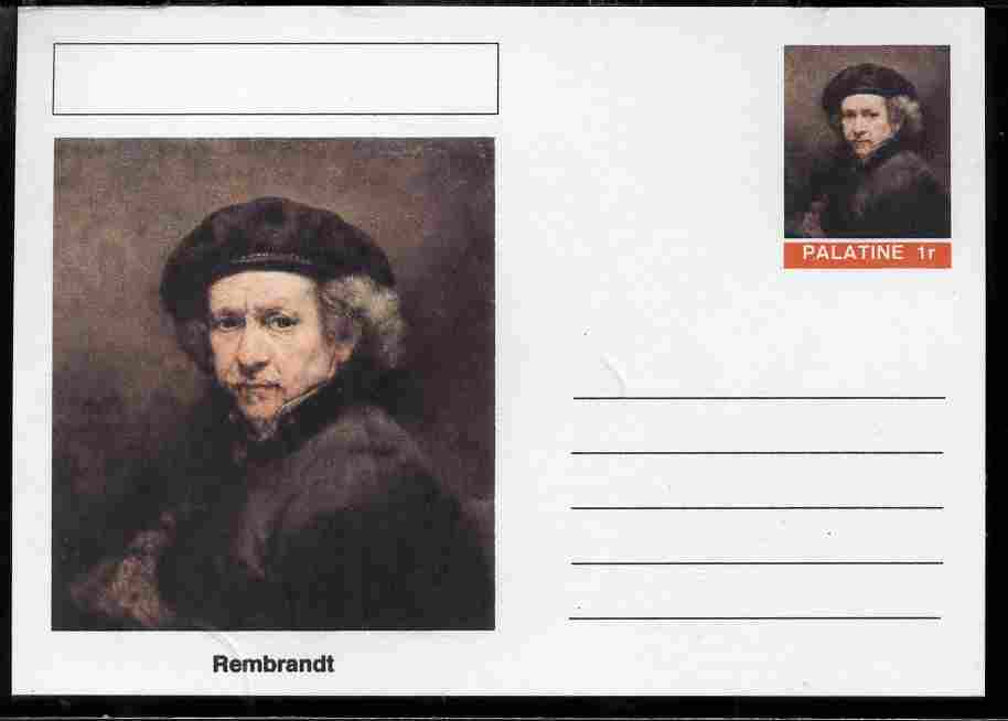 Palatine (Fantasy) Personalities - Rembrandt postal stationery card unused and fine