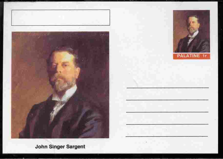Palatine (Fantasy) Personalities - John Singer Sargent postal stationery card unused and fine