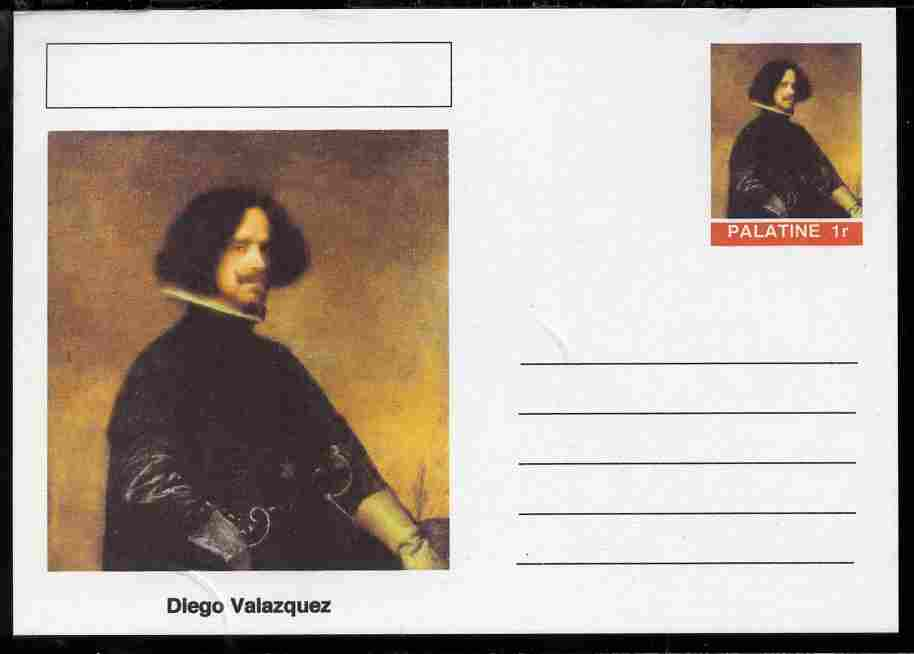 Palatine (Fantasy) Personalities - Diego Valazquez postal stationery card unused and fine