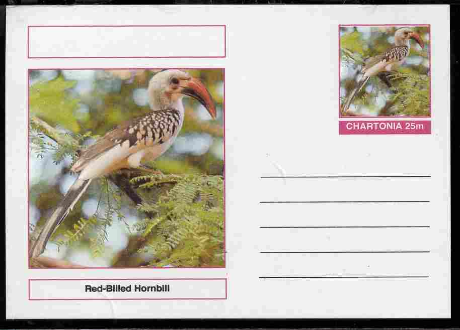 Chartonia (Fantasy) Birds - Red-Billed Hornbill postal stationery card unused and fine