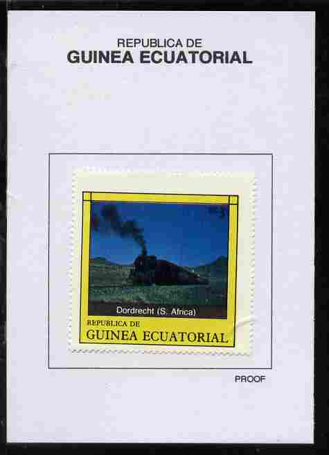 Equatorial Guinea 1977 Locomotives 3EK Dordrecht (S Africa) proof in issued colours mounted on small card - as Michel 1146
