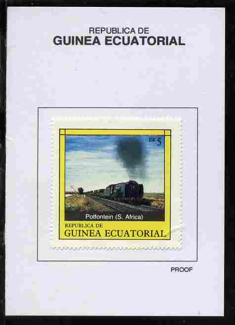 Equatorial Guinea 1977 Locomotives 5EK Potfontein (S Africa) proof in issued colours mounted on small card - as Michel 1147