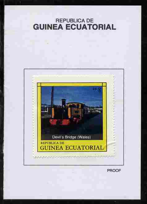 Equatorial Guinea 1977 Locomotives 8EK Devil's Bridge (Wales) proof in issued colours mounted on small card - as Michel 1148