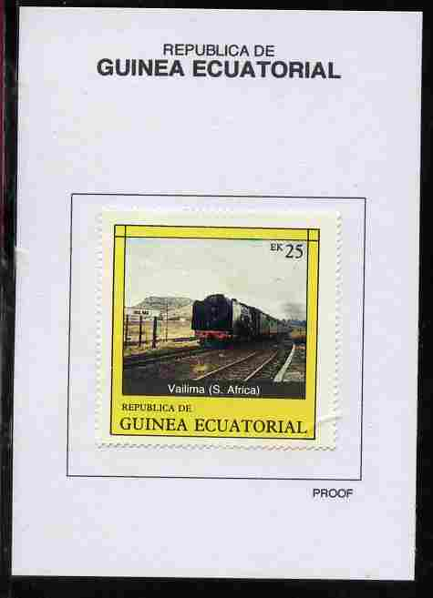 Equatorial Guinea 1977 Locomotives 25EK Vailima (S Africa) proof in issued colours mounted on small card - as Michel 1149