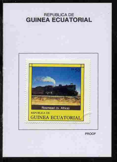 Equatorial Guinea 1977 Locomotives 50EK Rosmead (S Africa) proof in issued colours mounted on small card - as Michel 1150