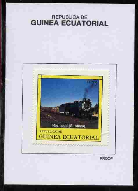 Equatorial Guinea 1977 Locomotives 75EK Rosmead (S Africa) proof in issued colours mounted on small card - as Michel 1151