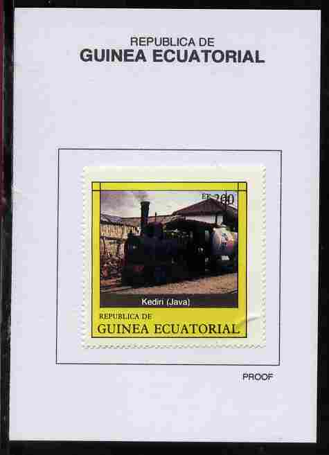 Equatorial Guinea 1977 Locomotives 200EK Kediri (Java) proof in issued colours mounted on small card - as Michel 1152